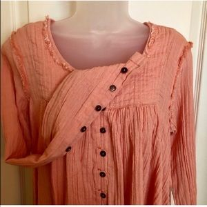 Free People Tops - FREE PEOPLE Top Peach Raw Edge Button NWT
